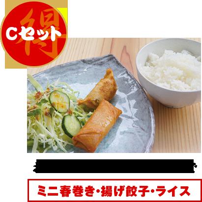 Cセット:お好きなラーメン+200円でミニ春巻き・揚げ餃子・ライス